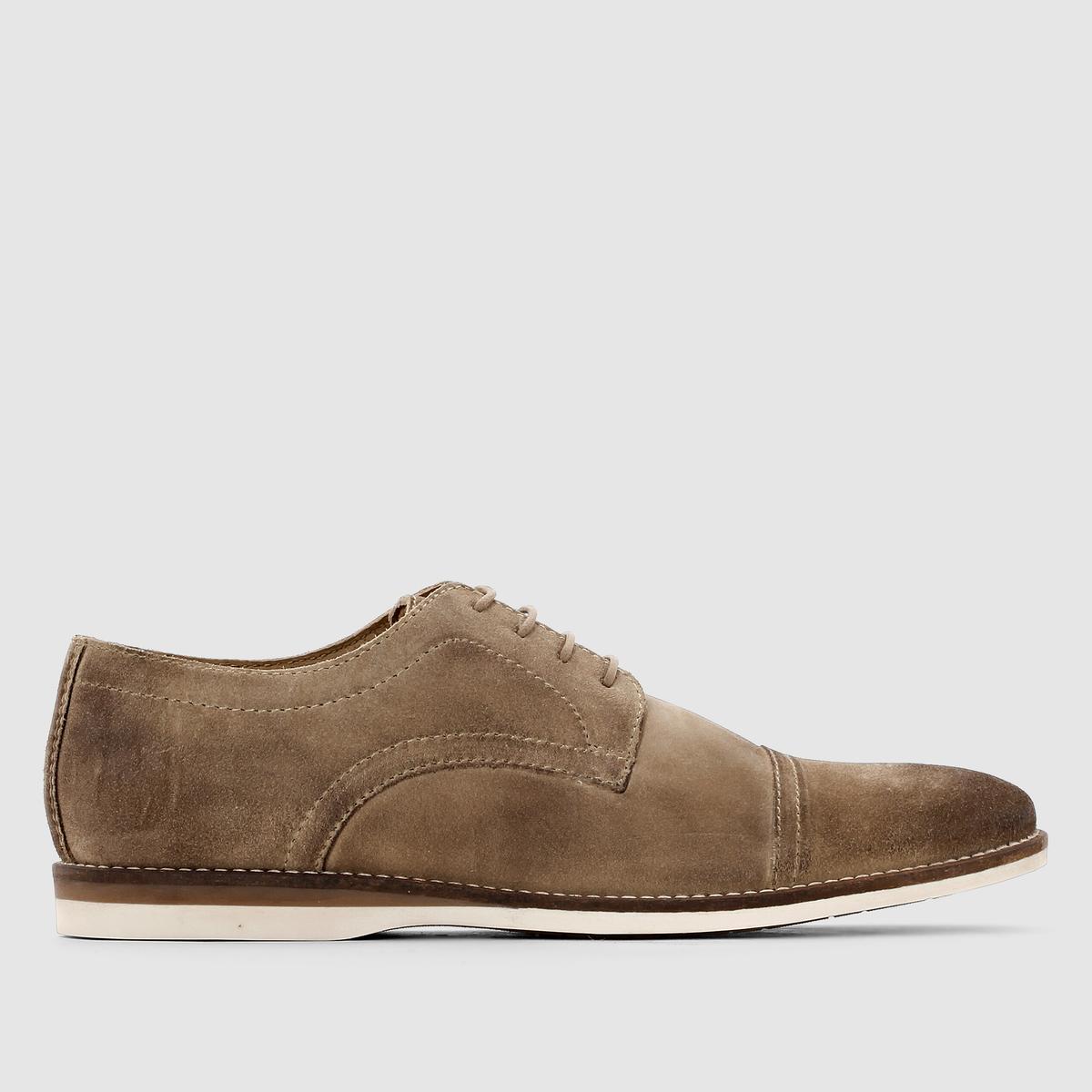 Ботинки-дерби кожаные на шнуровке ConcoctНизкая и утончённая модель, велюровая кожа, патинированные мыски, контрастная подошва, видимая прострочка... В них есть всё! Каждый заботящийся о своём стиле мужчина должен иметь их в своём гардеробе!<br><br>Цвет: серо-коричневый<br>Размер: 41