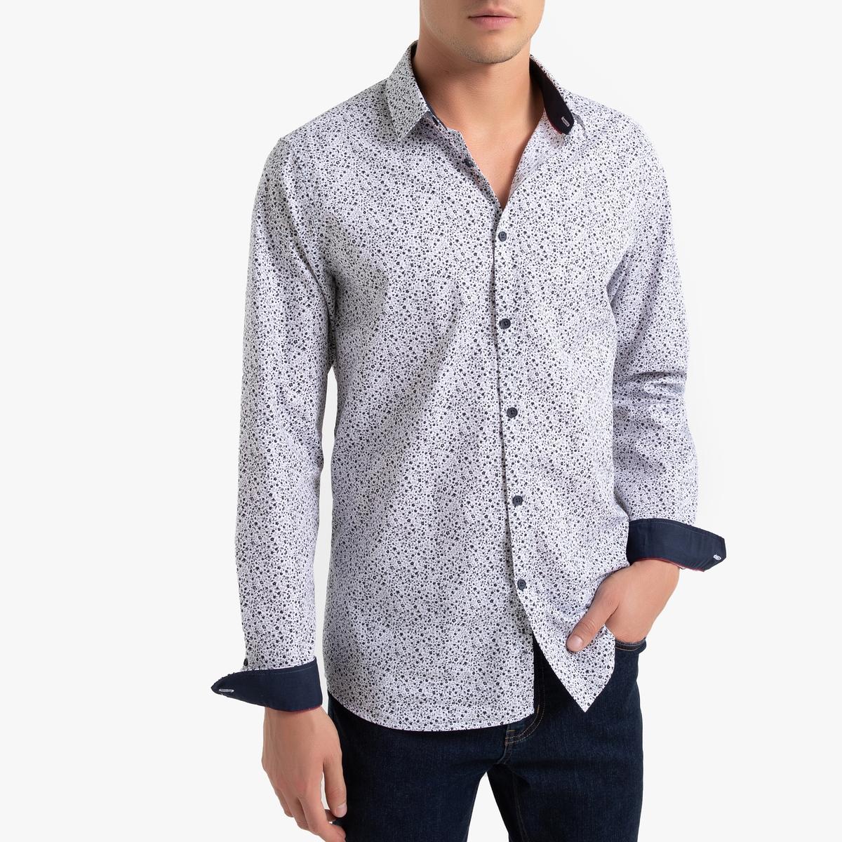 Camisa estampada con corte slim, manga larga