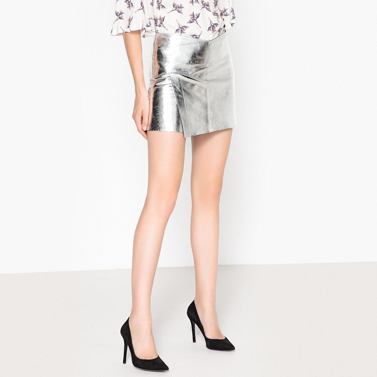 Юбка укороченная с металлическим блеском из козьей кожи MANIA юбка карандаш укороченная printio эскиз