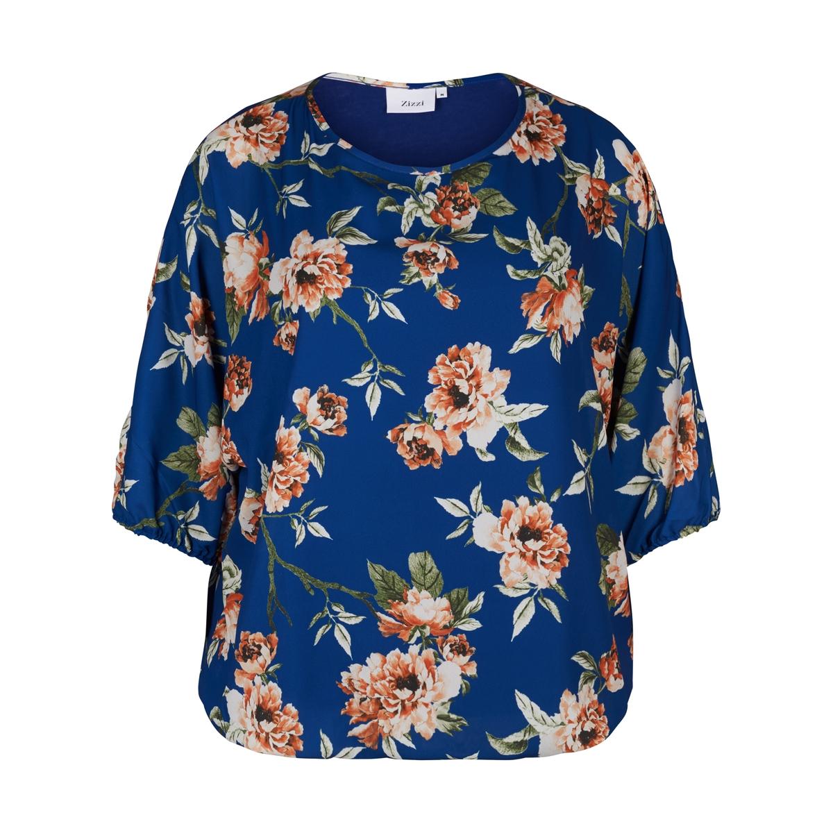 Блузка однотонная с круглым вырезом, с короткими рукавами блузка однотонная с короткими рукавами