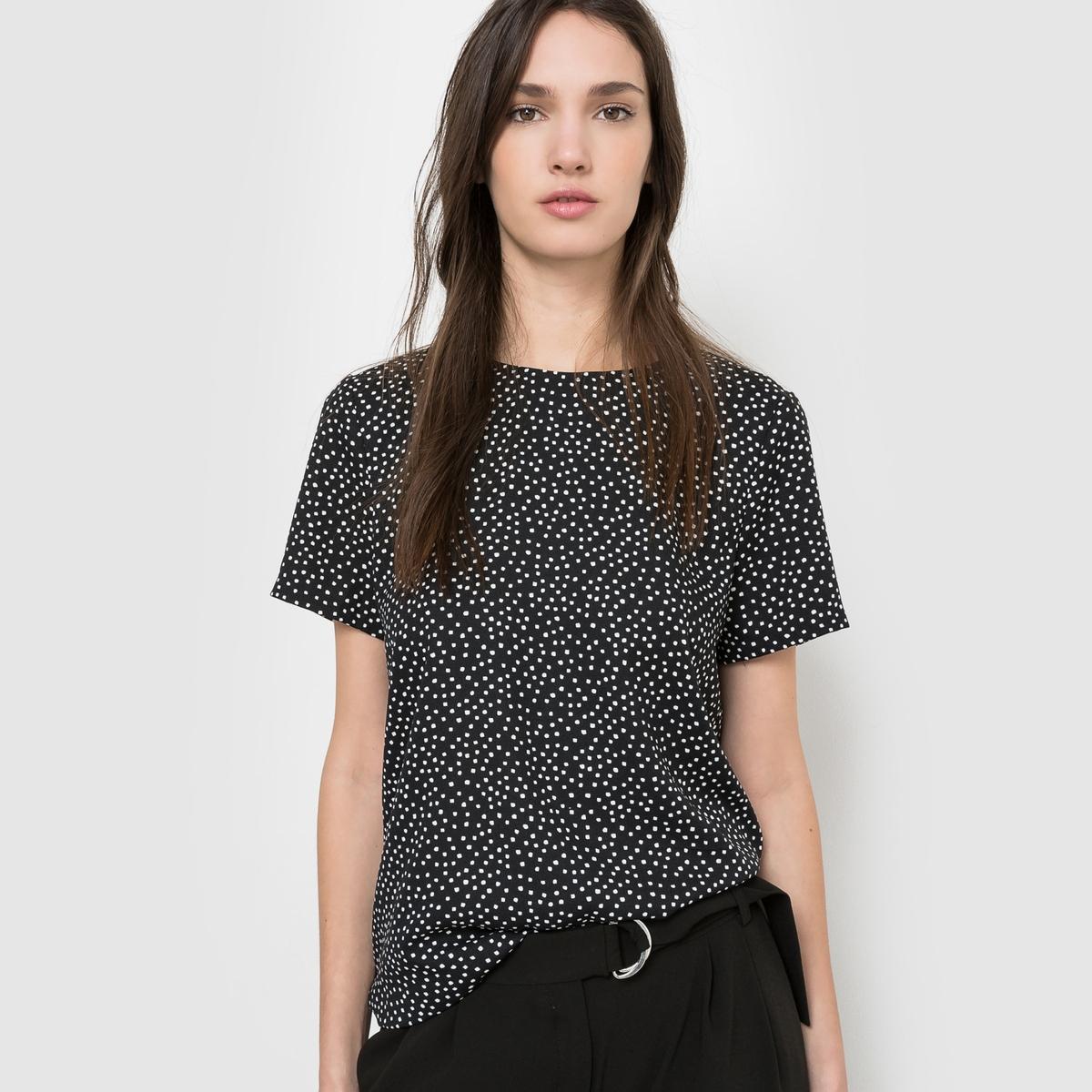 Блузка с рисунком в горошек и шнуровкой сзади, короткие рукаваБлузка. 100% полиэстера, рисунок в горошек.  Короткие рукава. Круглый вырез. Шнуровка сзади.  Длина: 62 см.<br><br>Цвет: черный в горошек экрю<br>Размер: 34 (FR) - 40 (RUS)
