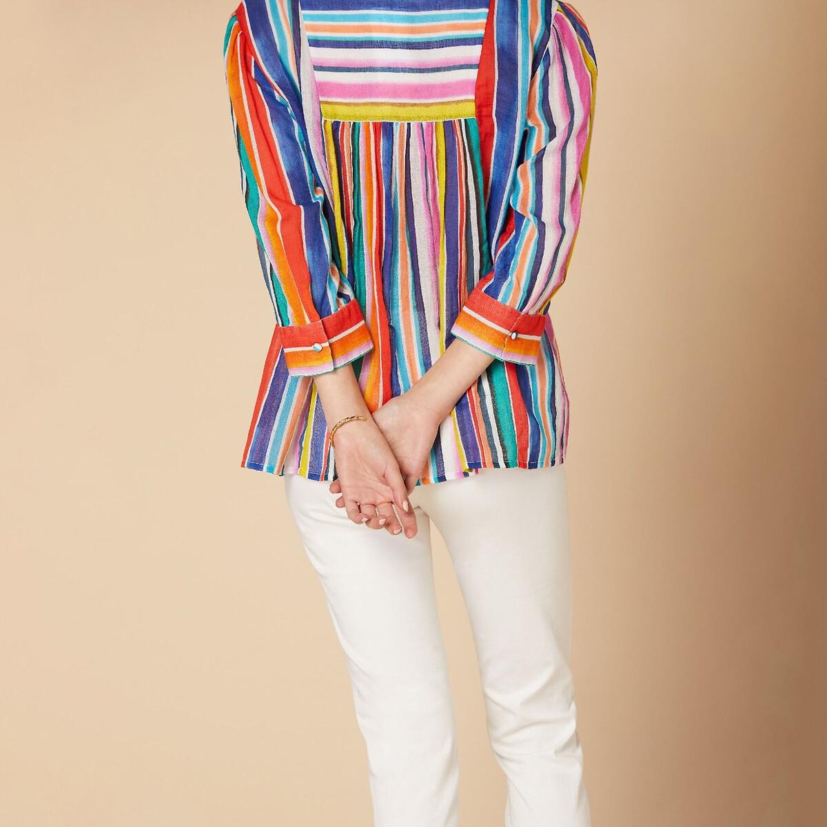цена на Блузка La Redoute В полоску расклешенная с V-образным вырезом и завязками с помпонами M белый