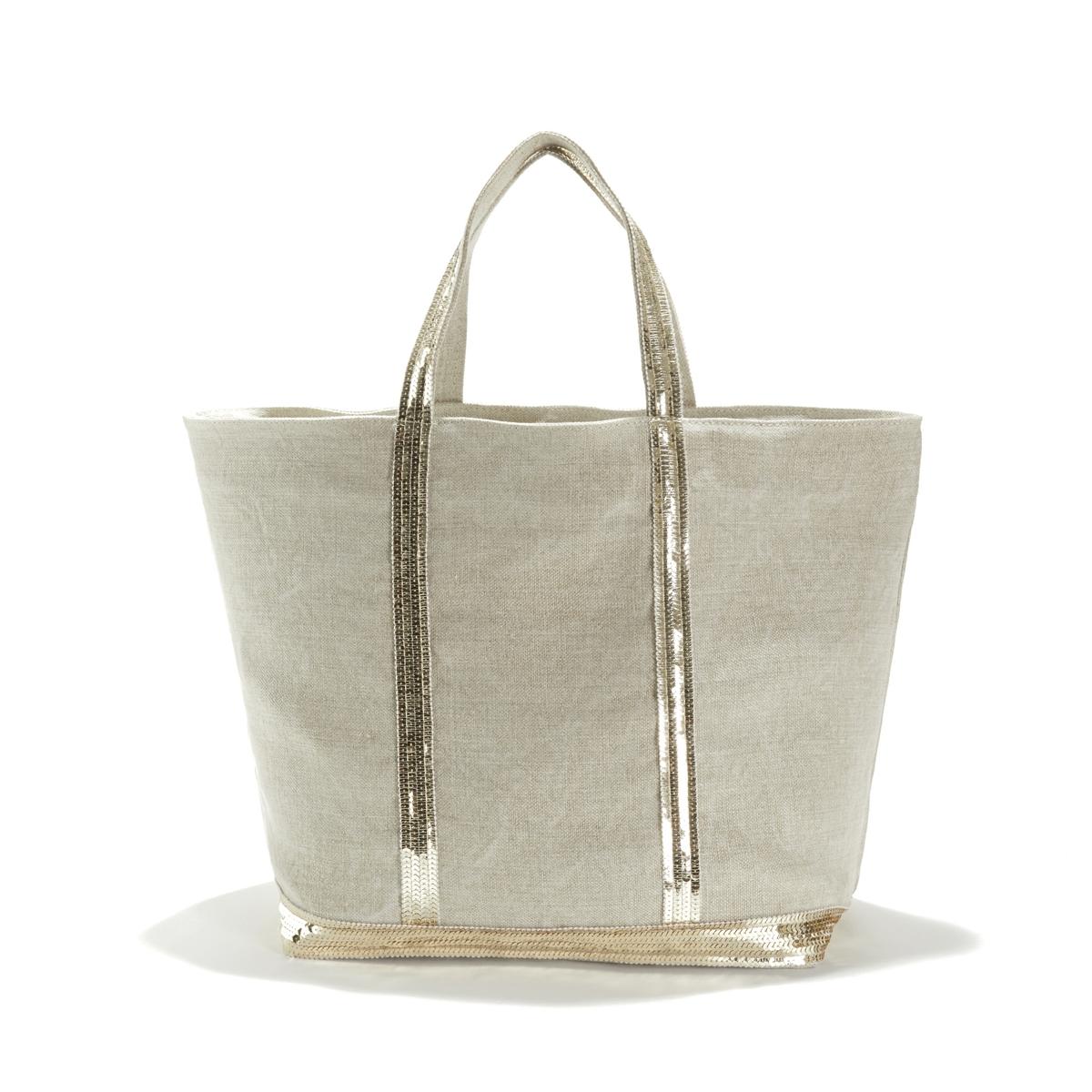 Фото - Сумка-шоппер La Redoute Из льна с блестками единый размер бежевый сумка шоппер средняя из парусины с блестками