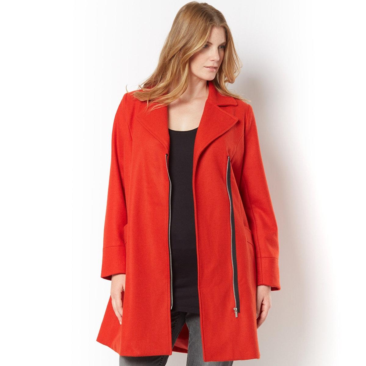 Пальто в байкерском стиле – TAILLISSIMEПальто в байкерском стиле - TAILLISSIME. Пальто прямого облегающего покроя в байкерском стиле, подчеркивающее фигуру. Большой воротник с отворотами, застежка на позолоченную металлическую молнию. 2 отрезных кармана. 60% шерсти, 20% полиэстера, 15% акрила, 5% других волокон. Подкладка из полиэстера. Длина 95 см<br><br>Цвет: оранжевый<br>Размер: 44 (FR) - 50 (RUS).46 (FR) - 52 (RUS).52 (FR) - 58 (RUS)