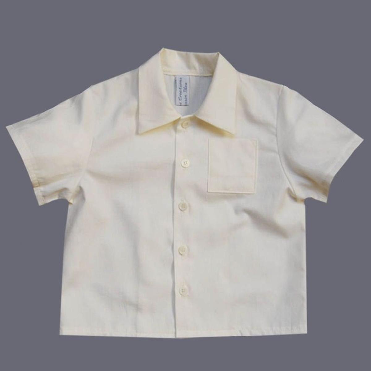 Chemise ivoire, baptême, cérémonie 0 mois-10 ans Made In France