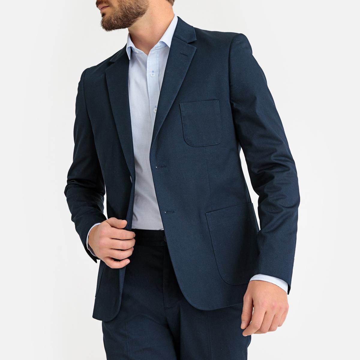 Фото - Жакет LaRedoute Прямого покроя из смесовой хлопковой ткани пике 42 синий юбка laredoute джинсовая прямого покроя xs синий