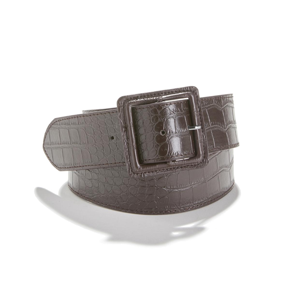 Cinturón ancho efecto piel de cocodrilo