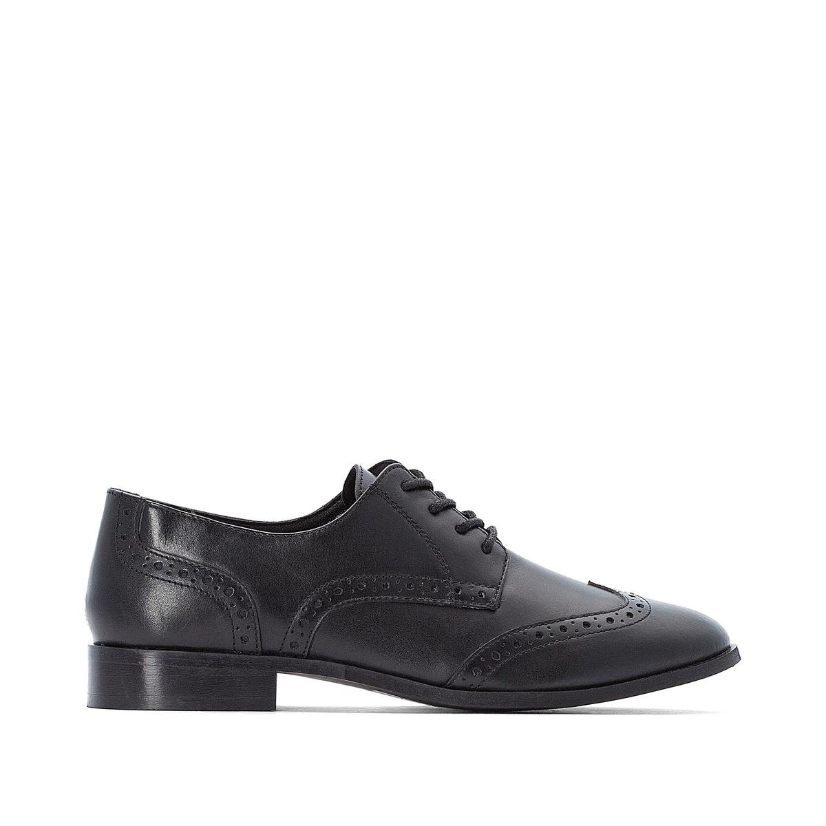 цена Ботинки-дерби La Redoute Кожаные в стиле оксфордов 44 черный онлайн в 2017 году