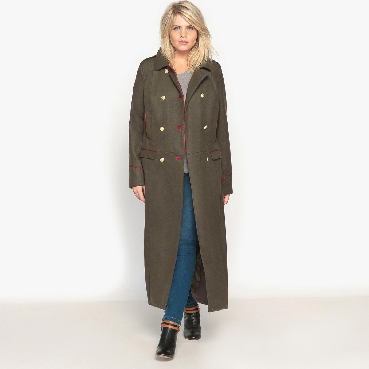 ПальтоОписание:С великолепным пальто в стиле милитари Вы будете готовы к наступлению зимних холодов. Не выходящий из моды стиль милитари, длинный покрой.Детали •  Длина : удлиненная модель •  Воротник-поло, рубашечный • Застежка на пуговицыСостав и уход •  93% полиэстера, 6% вискозы, 1% эластана •  Подкладка : 100% полиэстер • Не стирать •  Деликатная сухая чистка / не отбеливать •  Не использовать барабанную сушку  •  Низкая температура глажки  ВАЖНО: Товар без манжетТовар из коллекции больших размеров •  Пальто в стиле милитари с двубортной застежкой на пуговицы. •  Контрастная отделка красной бейкой. •  4 кармана. •  Длина : 130,9 см<br><br>Цвет: хаки темный<br>Размер: 50 (FR) - 56 (RUS).48 (FR) - 54 (RUS).44 (FR) - 50 (RUS)