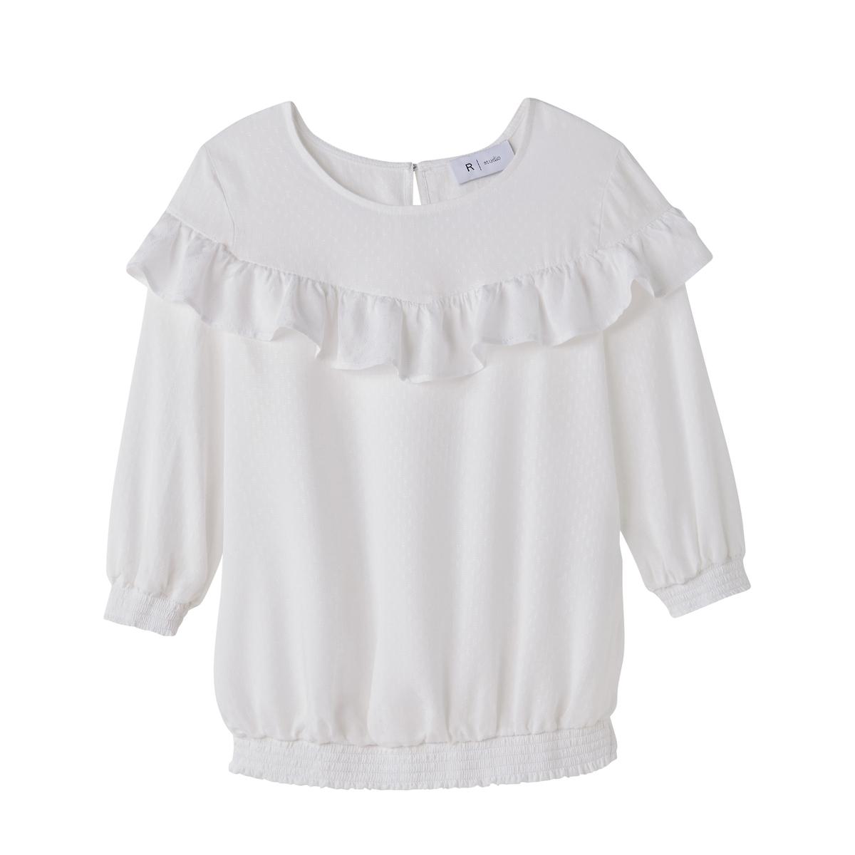 Blusa com mangas 3/4, cintura elástica, folhos