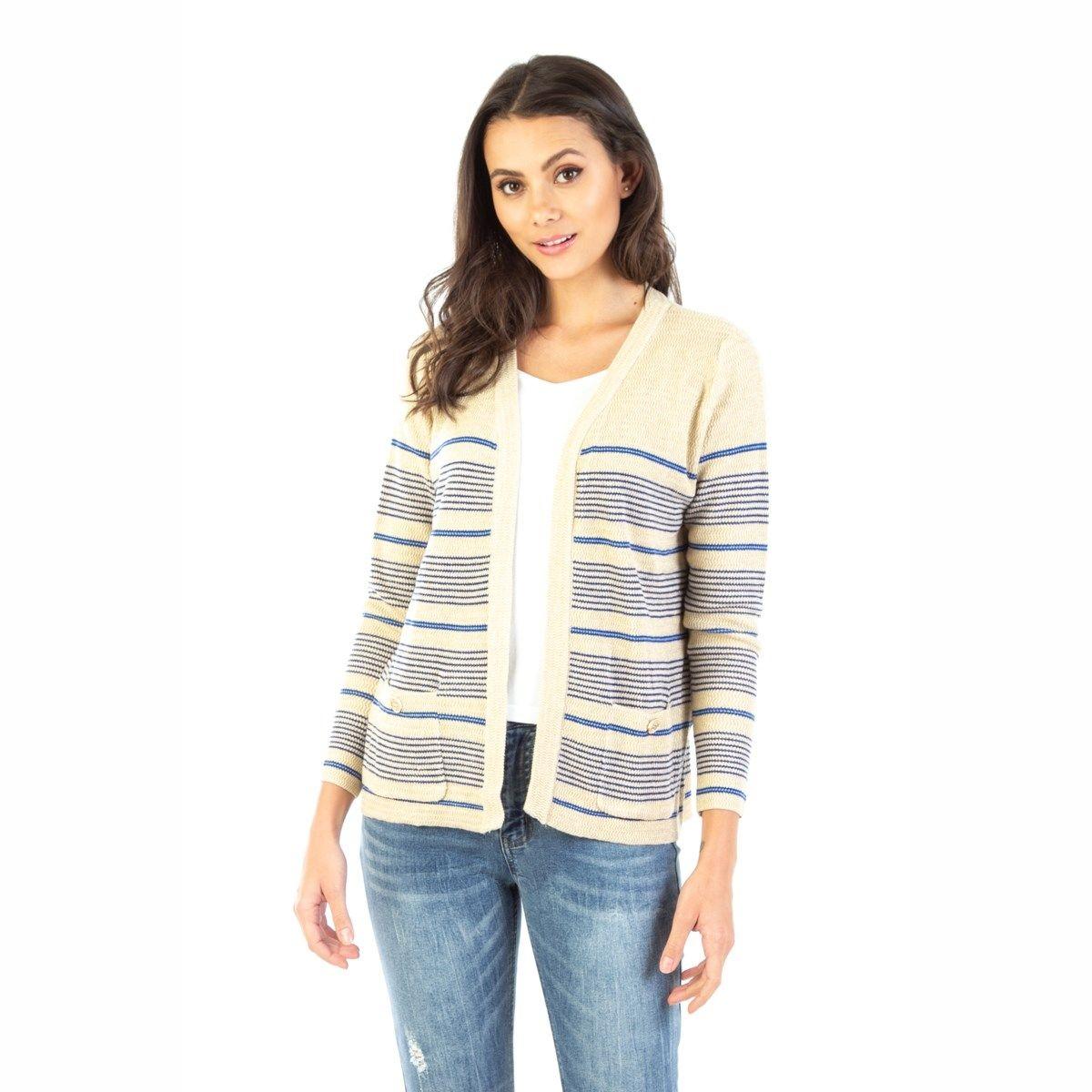 Gilet à rayures en laine mélangée