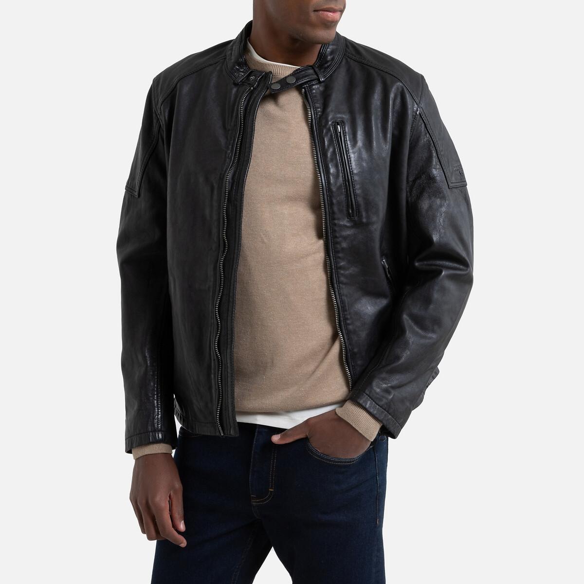Куртка La Redoute Кожаная в байкерском стиле Donovan L черный сапоги la redoute в байкерском стиле на широкую стопу 38 черный