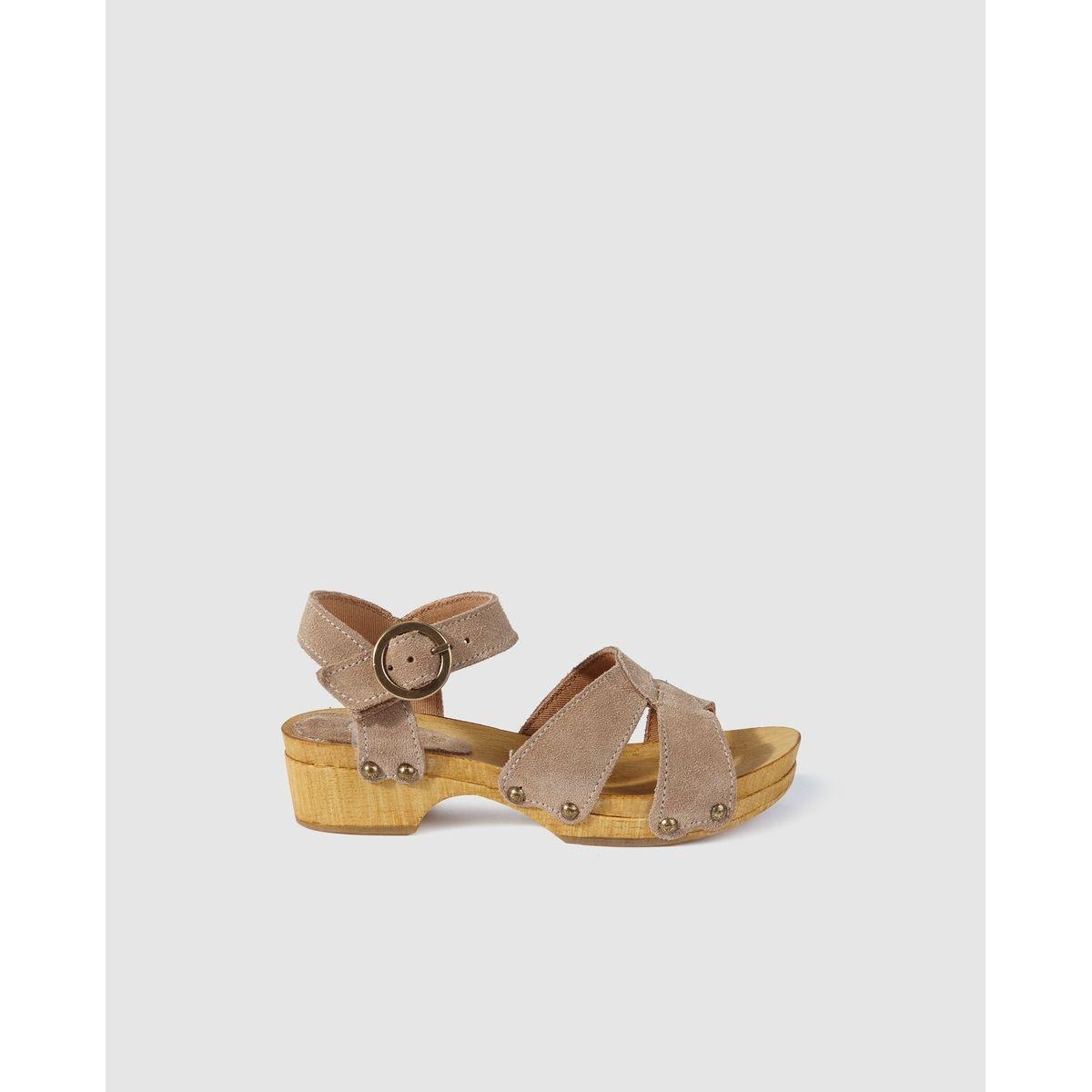Sandales en croûte de cuir gris