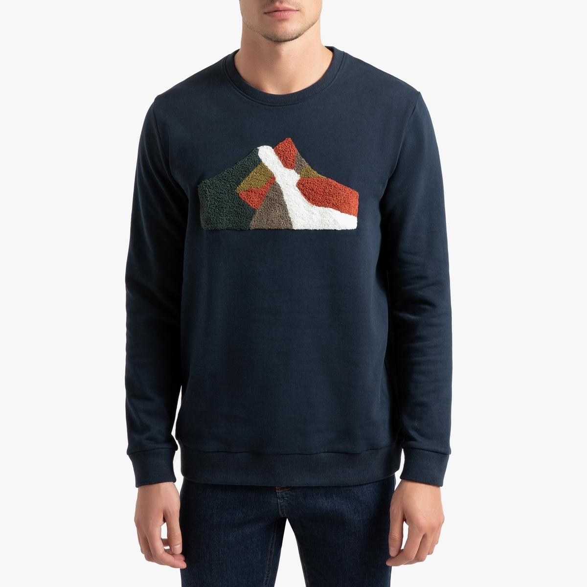 Свитшот La Redoute С круглым вырезом и рисунком S синий свитшот la redoute с круглым вырезом и вышивкой s черный