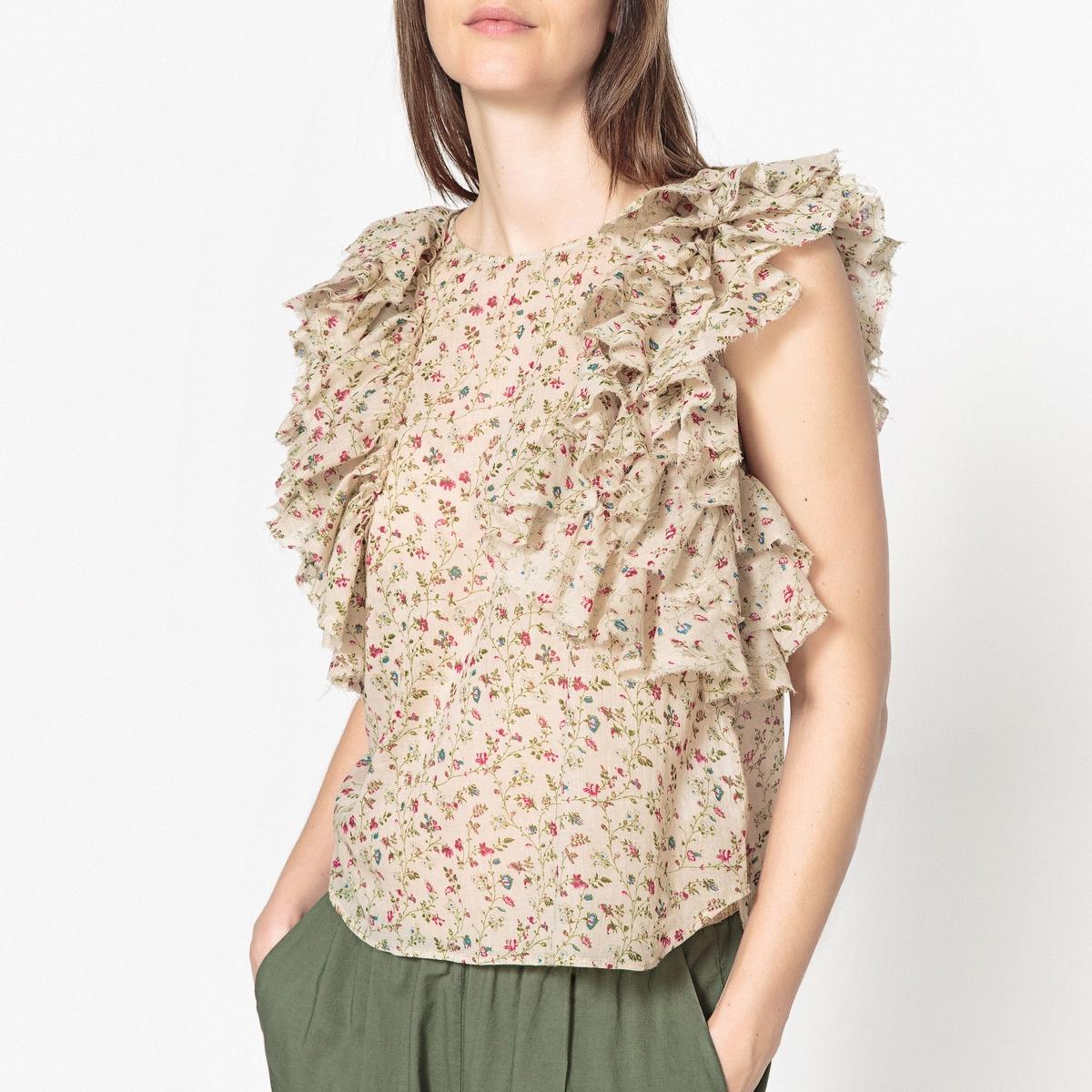 Блузка с принтом и воланами без рукавов BULB от LAURENCE BRAS