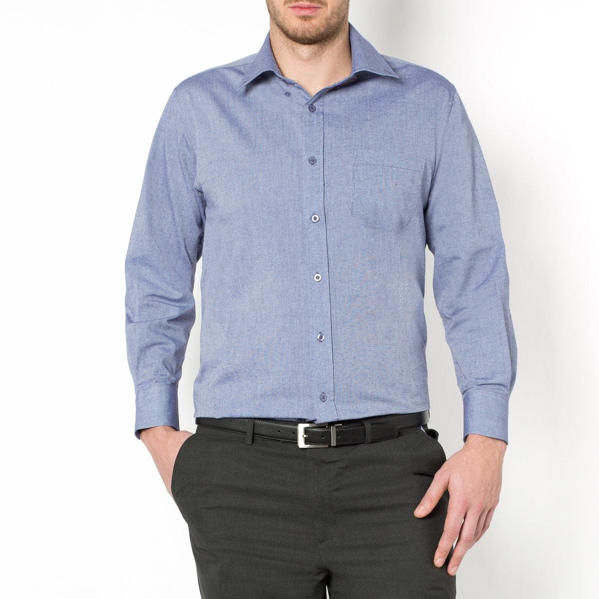 Рубашка однотонная с длинными рукавами от La Redoute