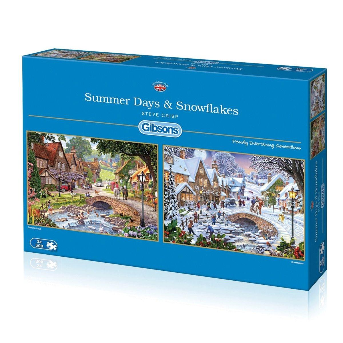 Puzzle 2 x 500 pièces : Steve Crisp - l'été et l'hiver au coeur d'un village