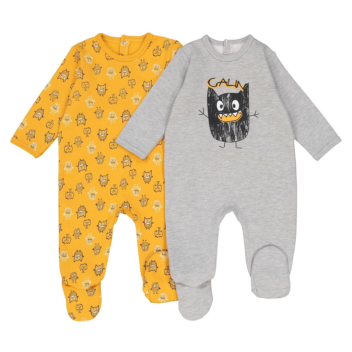 2 пижамы из мольтона, до 3 лет пижамы и ночные сорочки bambinizon пижама комбинезон на кнопках сафари