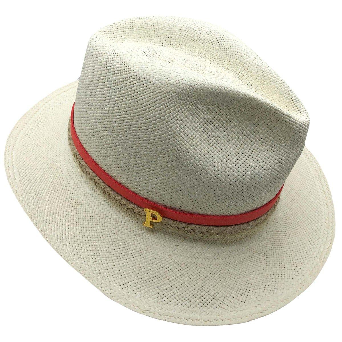 Chapeau panama en paille écru ruban interchangeable Mix tresse et suédine