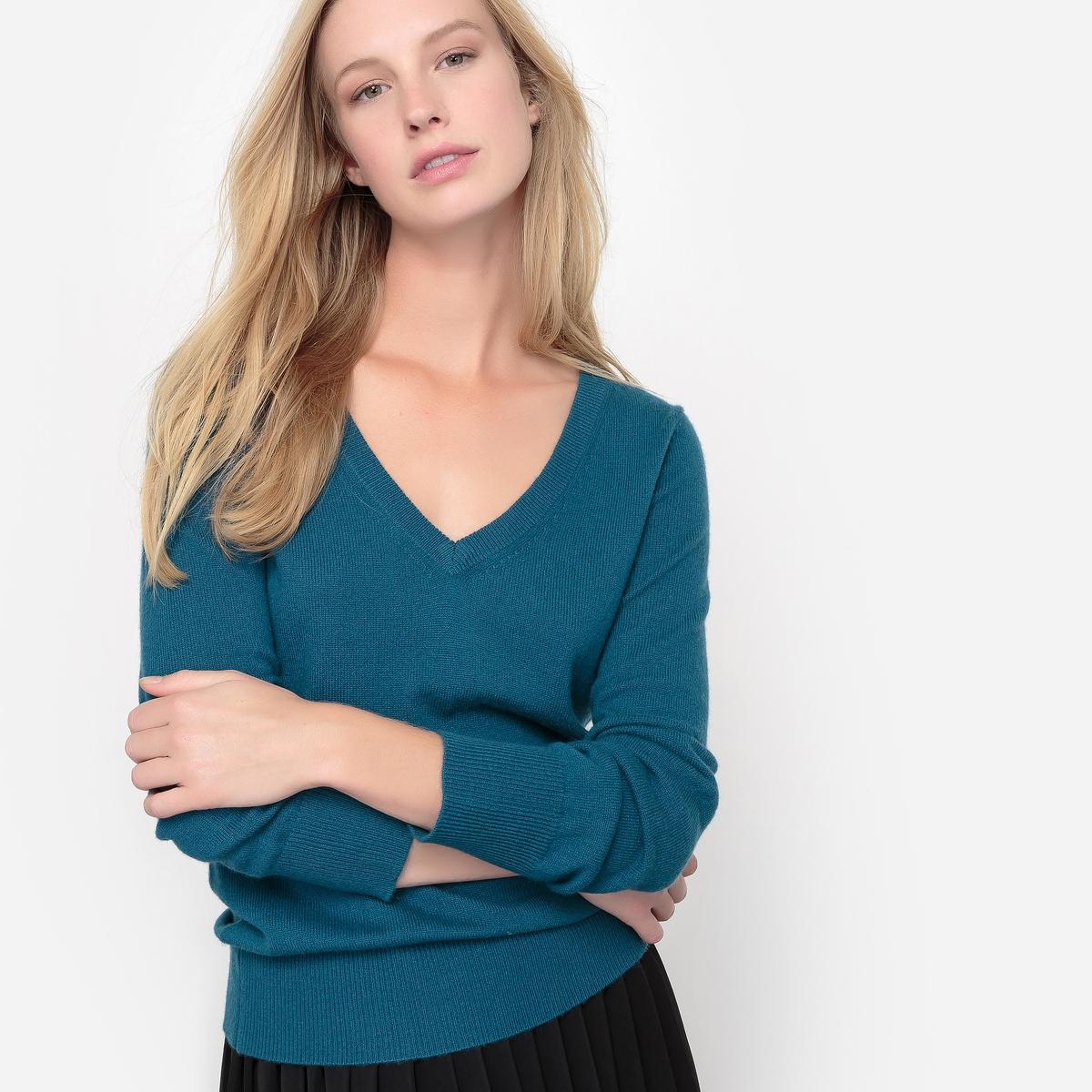 Пуловер с V-образным вырезом, 100% кашемира