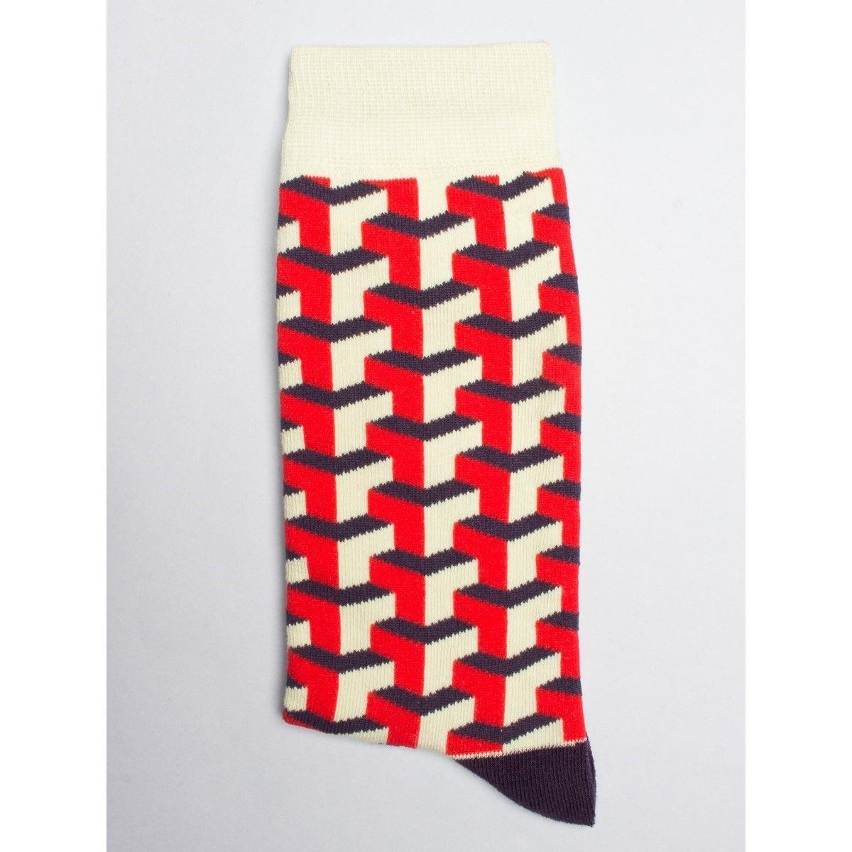 Chaussettes à motif cubes géométriques rouges