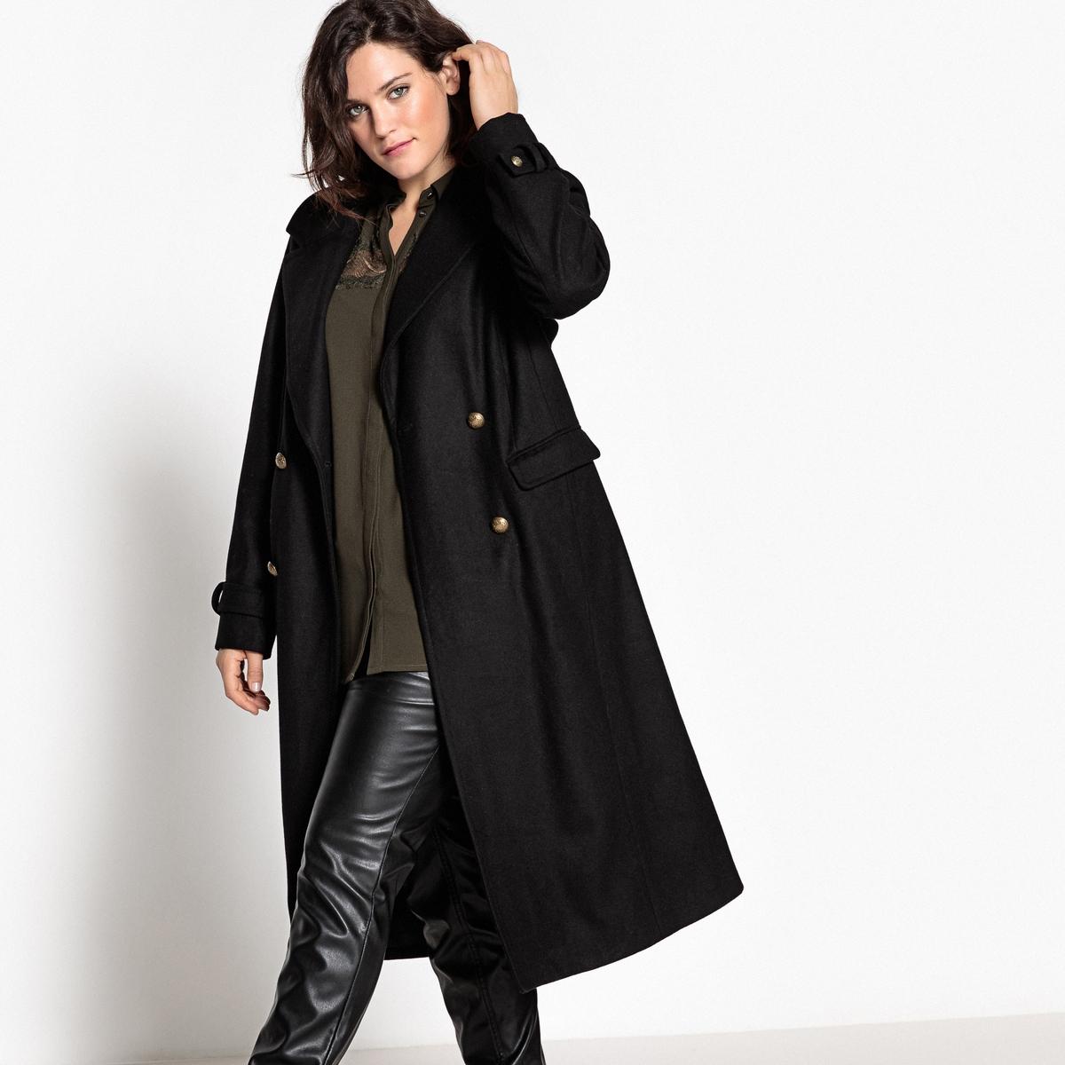 ПальтоОписание:Длинное изящное пальто в стиле милитари. Длинное пальто в стиле милитари из шерстяного драпа - неотъемлемый предмет зимнего гардероба.Детали •  Длина : удлиненная модель •  Воротник-поло, рубашечный • Застежка на пуговицыСостав и уход •  62% шерсти, 3% акрила, 7% полиамида, 28% полиэстера • Не стирать •  Деликатная сухая чистка / не отбеливать •  Не использовать барабанную сушку   •  Низкая температура глажки   ВАЖНО: Товар без манжетТовар из коллекции больших размеров •  Длина : 118,5 см<br><br>Цвет: черный<br>Размер: 56 (FR) - 62 (RUS).54 (FR) - 60 (RUS)