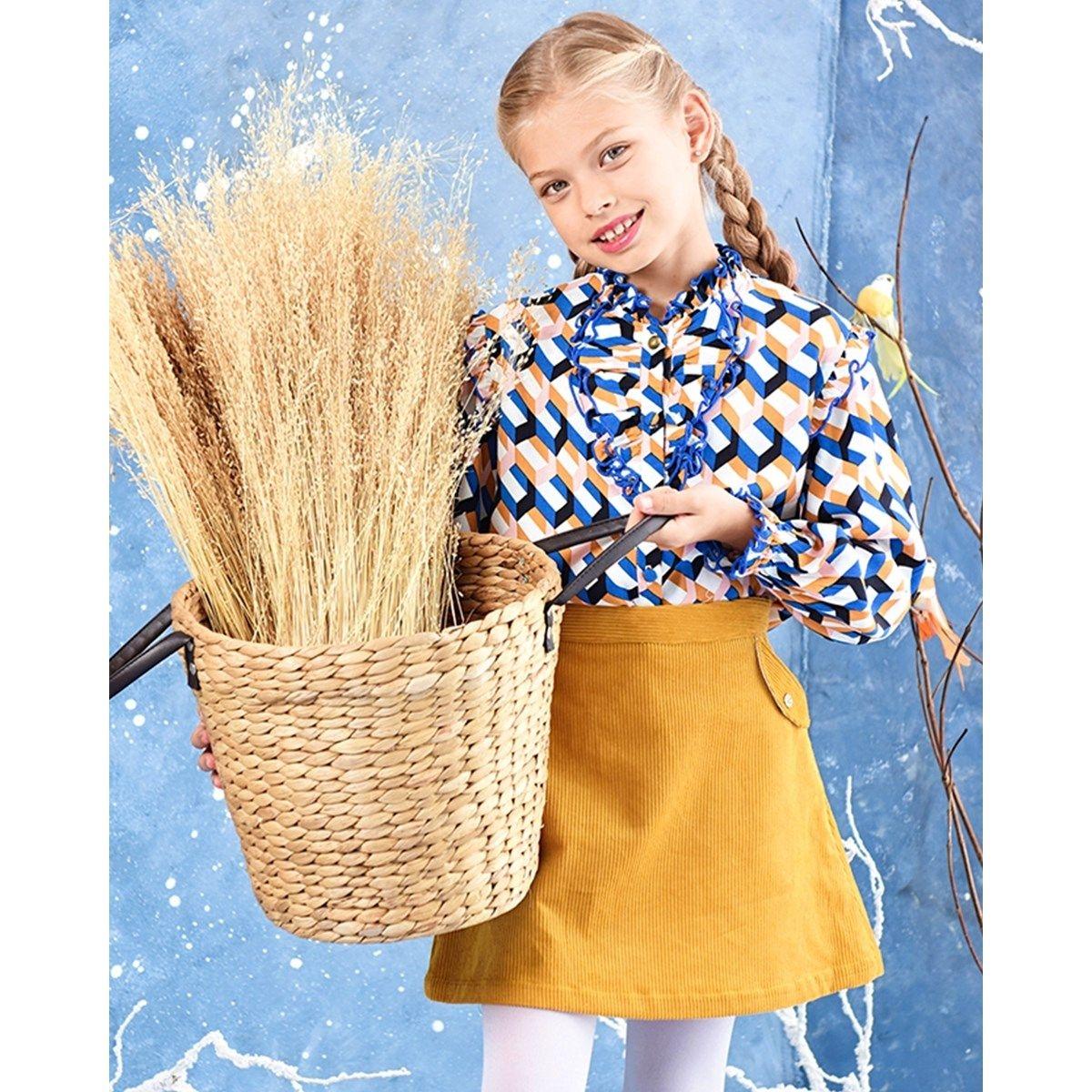 Jupe hiver fille 2-12 ans en velours côtelé jaune moutarde VANESSA