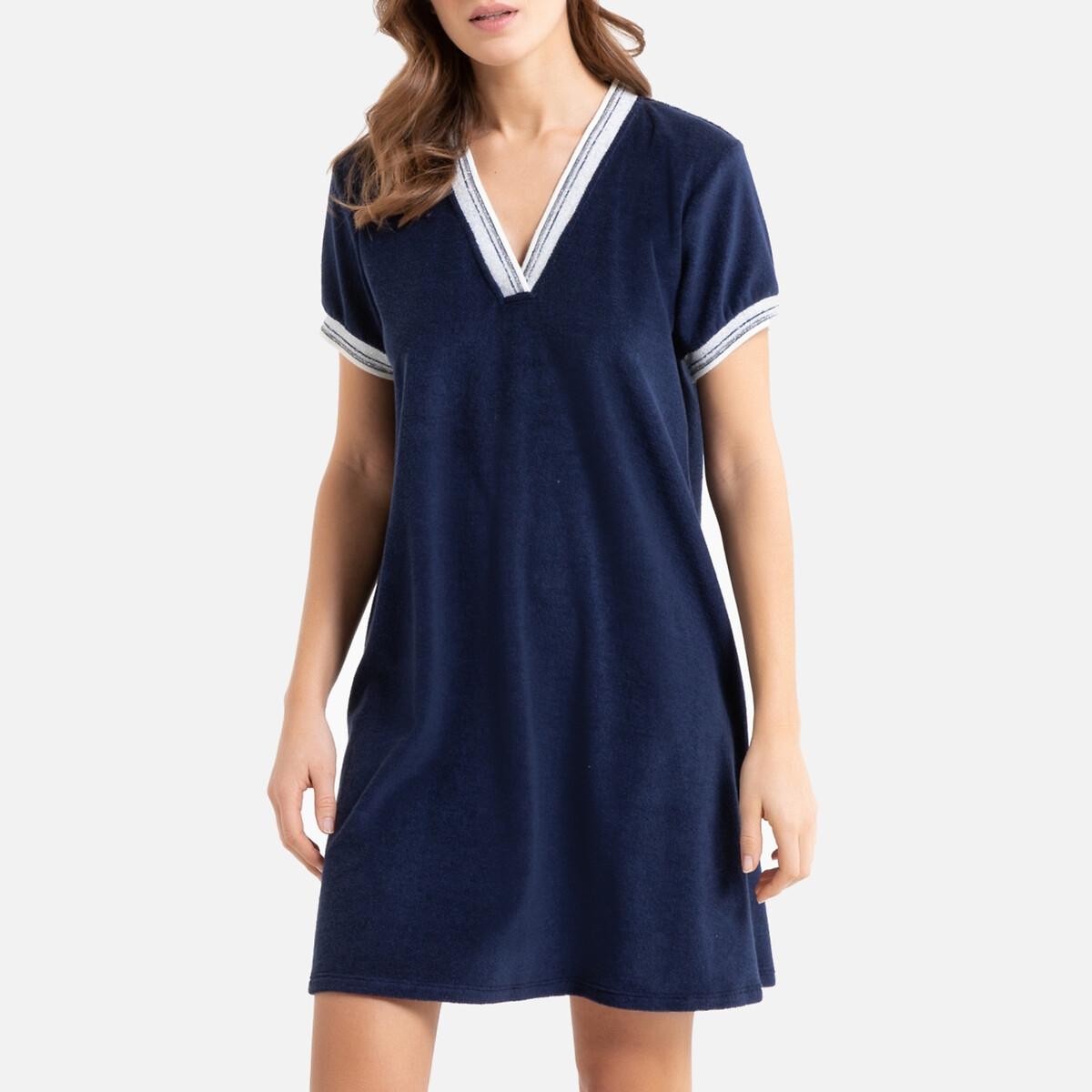 Рубашка La Redoute Ночная из махровой ткани Brigitte 42 (FR) - 48 (RUS) синий полотенце la redoute для рук из махровой ткани хлопок с люверсом единый размер бежевый