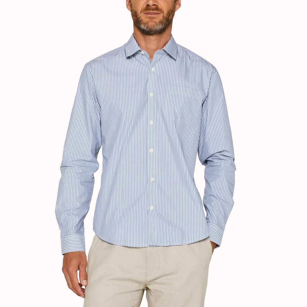Camisa recta a rayas de algodón stretch