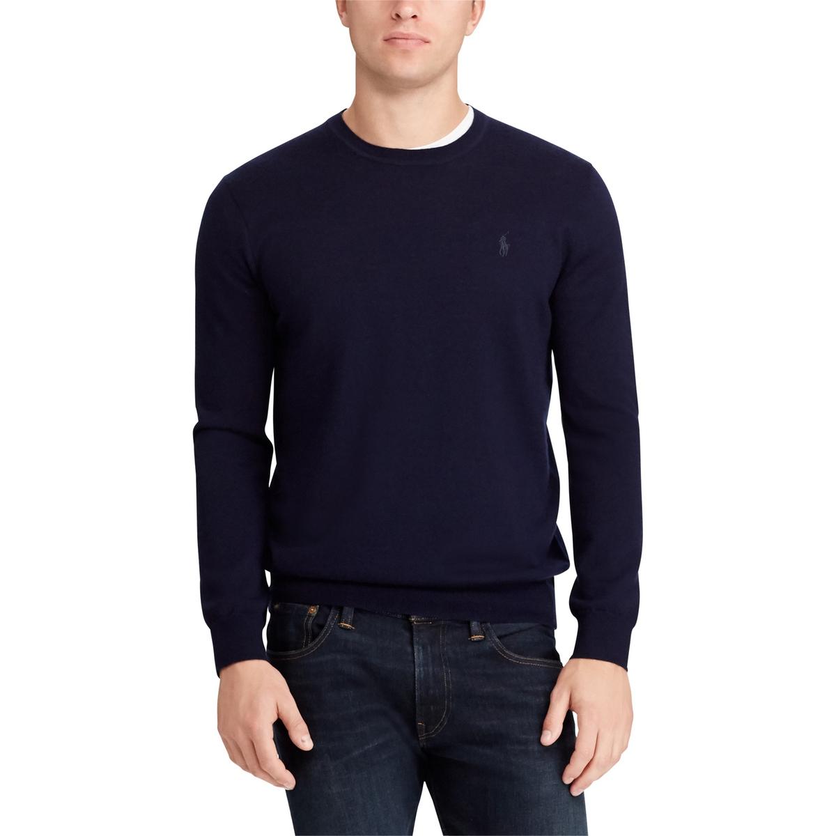 Пуловер La Redoute С круглым вырезом из шерсти мериноса S синий пуловер la redoute с круглым вырезом из шерсти мериноса pascal 3xl черный