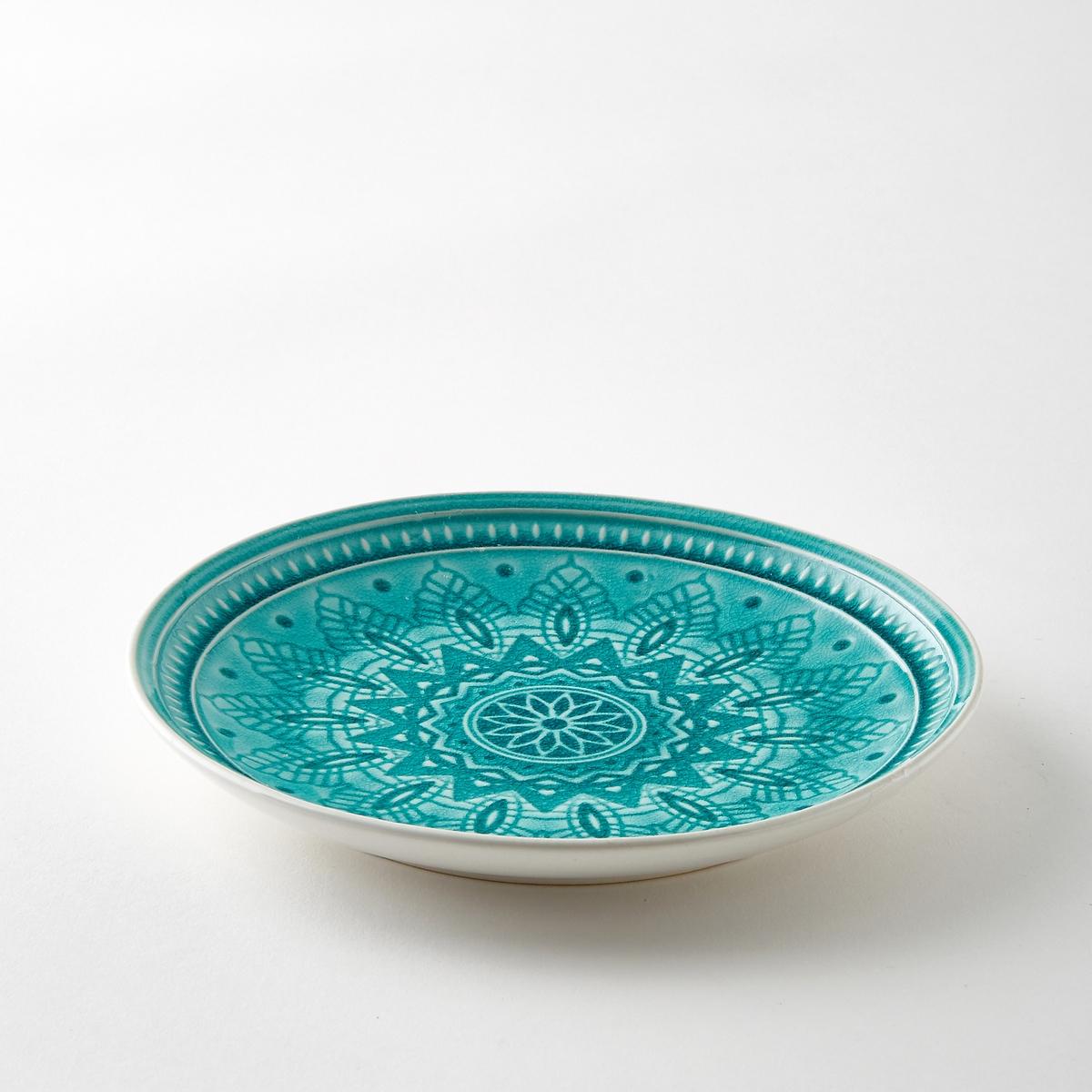 Комплект из 4 тарелок из керамики Nicolosi4 десертных тарелки Nicolosi. Из керамики с трещинами глазури. Рельефный рисунок. Подходит для посудомоечных машин. Размеры : диаметр 20,5 x высота 2,5 см.<br><br>Цвет: бирюзовый,серый