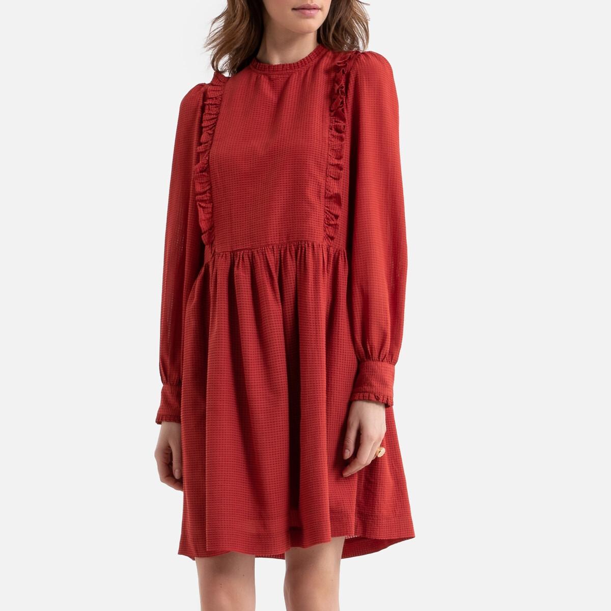 Платье La Redoute Расклешенное короткое с отделкой воланами 40 (FR) - 46 (RUS) красный