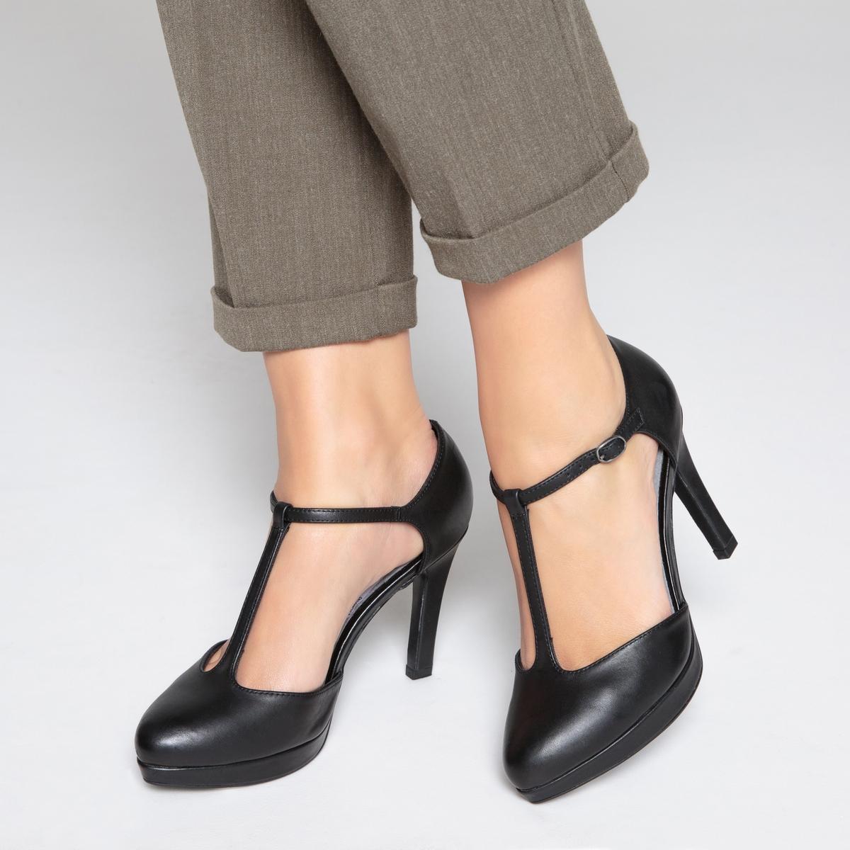 zapatillas Zapatos de tac?n de piel con detalle de plataforma