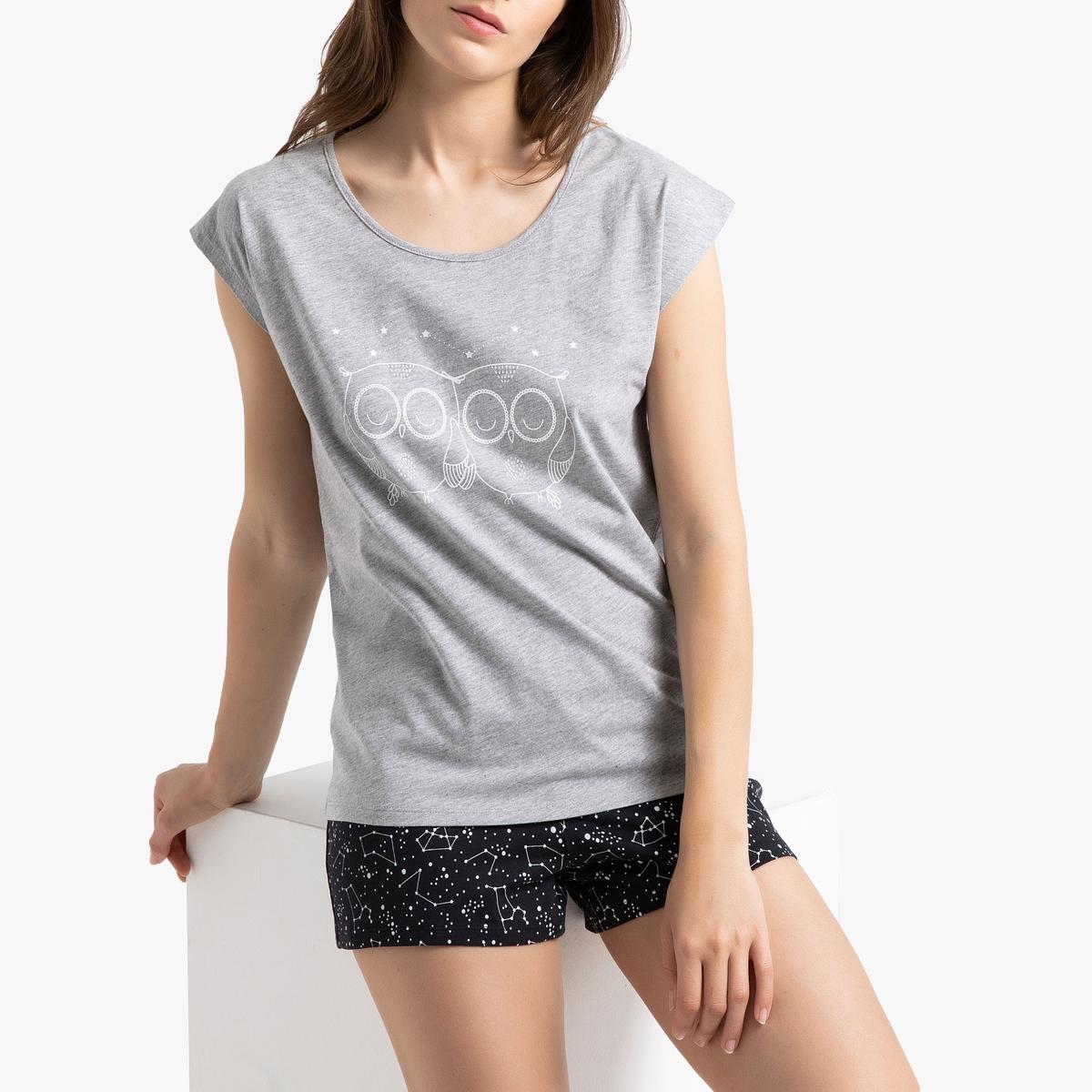 Пижама La Redoute С шортами короткими рукавами и рисунком 34/36 (FR) - 40/42 (RUS) черный цены