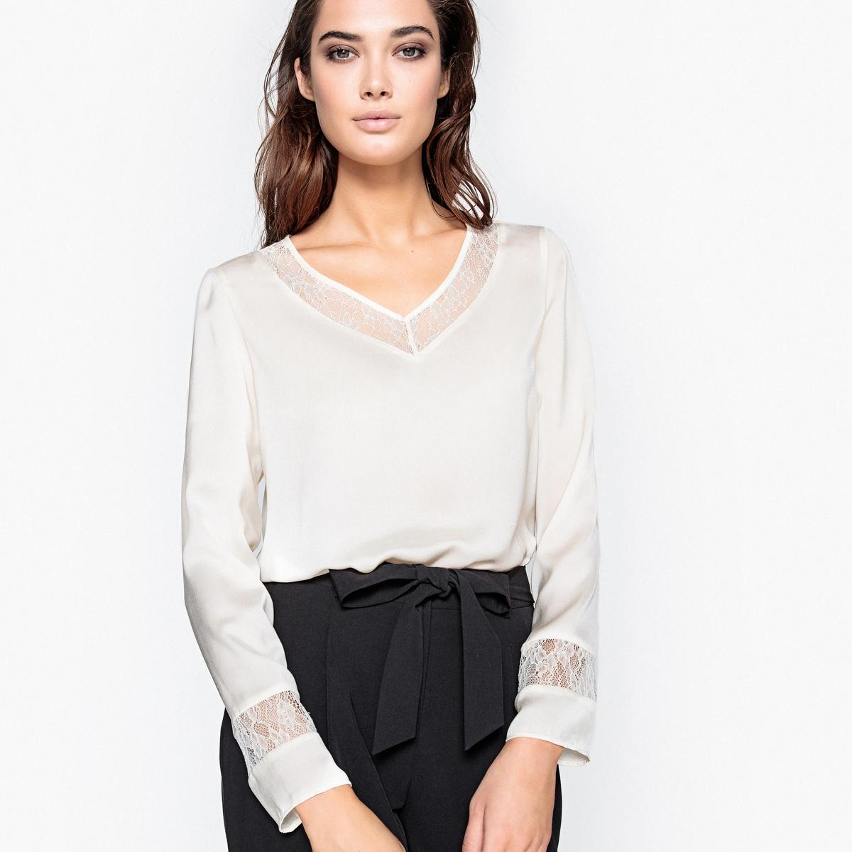 Блузка прямого покроя с кружевной вставкой платье без рукавов с кружевной вставкой на спинке