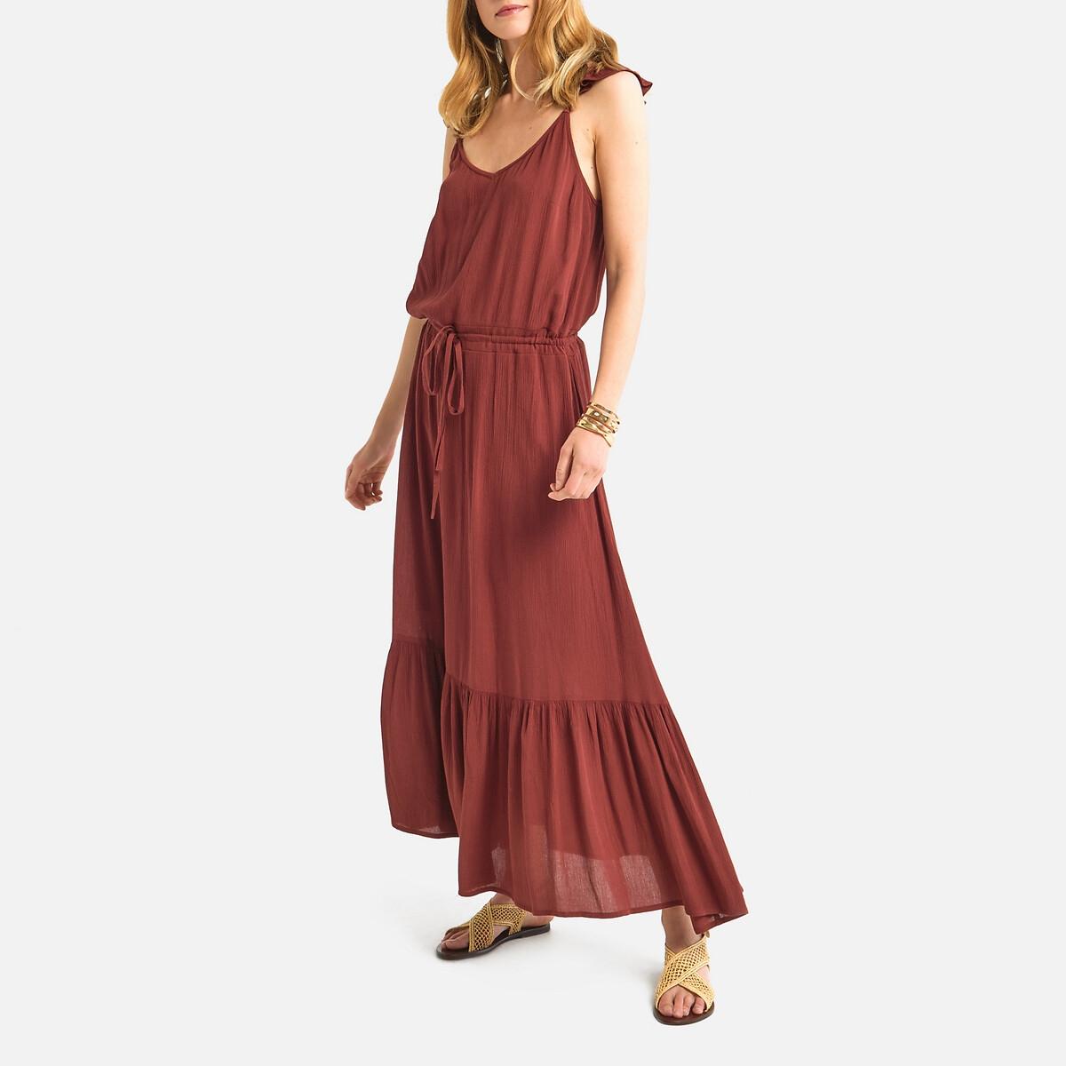 Платье La Redoute Длинное бретели с воланами 38 (FR) - 44 (RUS) каштановый