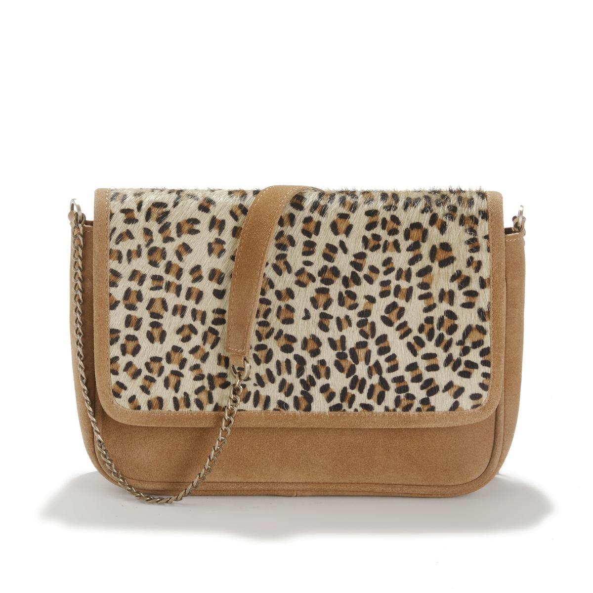 Bolso bandolera de piel con solapa y motivo leopardo