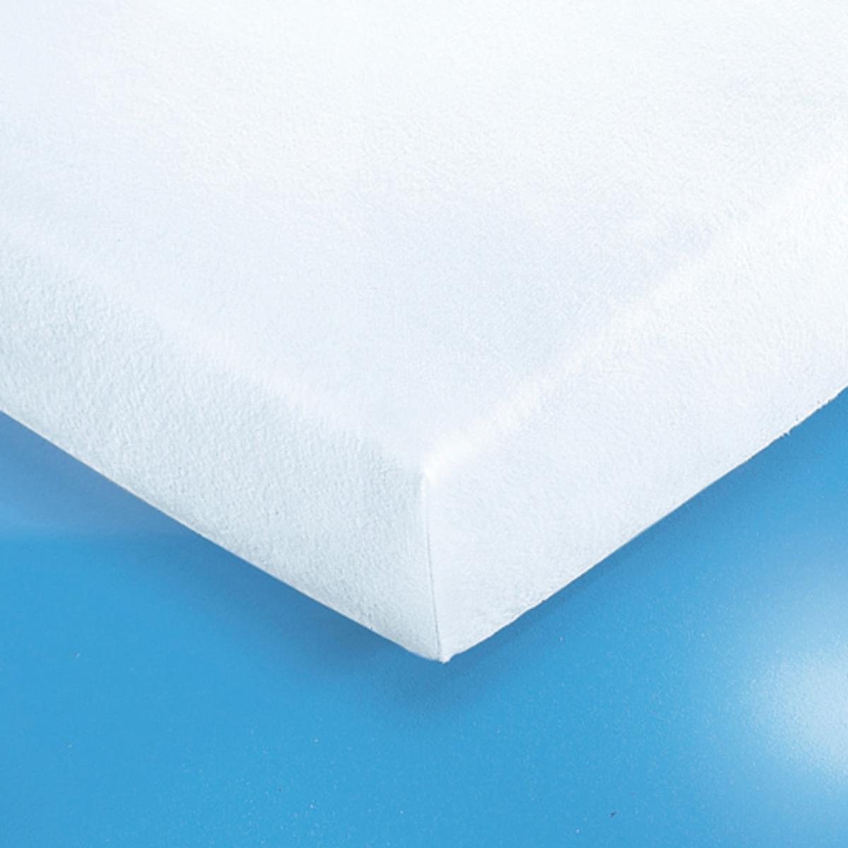 Чехол защитный для матраса натяжной из эластичной махровой ткани 400г/м? с водонепроницаемой пропиткой из ПВХУдобный впитывающий и водонепроницаемый защитный чехол для матраса впитывает влагу, выделяемую телом во время сна, защищая Ваше постельное белье от разводов, бактерий и клещей. Прочный и нежный на ощупь защитный чехол на матрас из махровой ткани с завитым ворсом 400 г/м? с непромокаемой прослойкой из ПВХ без содержания фталатов . Обработка против бактерий и плесени.Клапан из эластичного джерси для матрасов толщиной до 25  см. Стирка при температуре до 95°.Качество VALEUR S?RE.<br><br>Цвет: белый