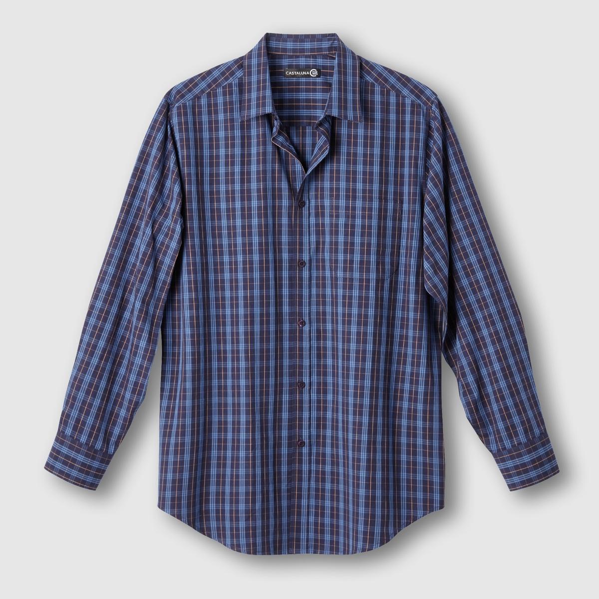 Рубашка в клеткуРубашка в клетку. Длинные рукава. Воротник со свободными уголками. 1 нагрудный карман. 2 складки на спине. Закругленный низ. Рисунок в клетку крашеной нитью,  100% хлопка. Длина: 85 см.<br><br>Цвет: в клетку темно-синий