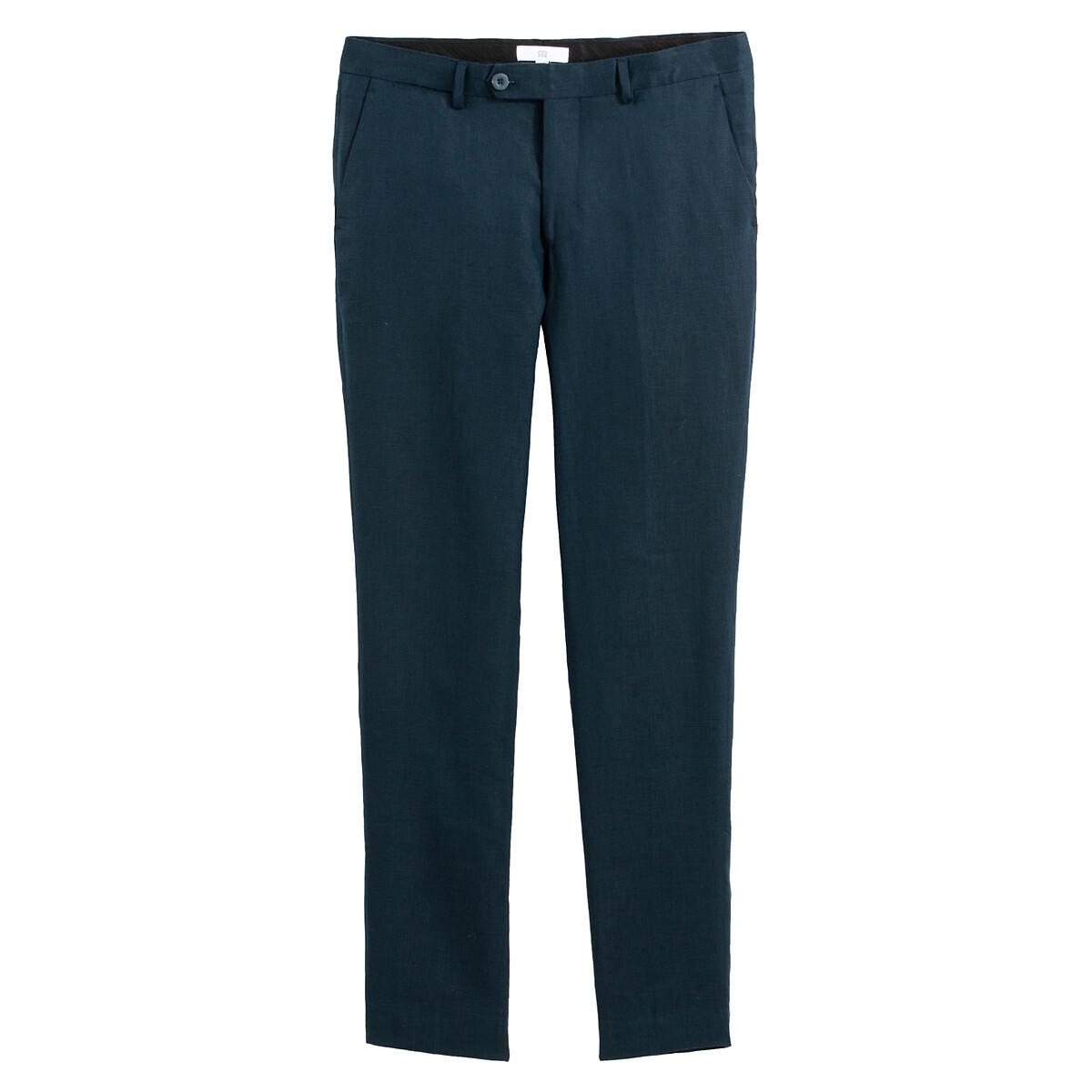 Брюки La Redoute Прямые из льна 42 (FR) - 48 (RUS) синий брюки la redoute веретенообразные из струящейся ткани 48 fr 54 rus синий