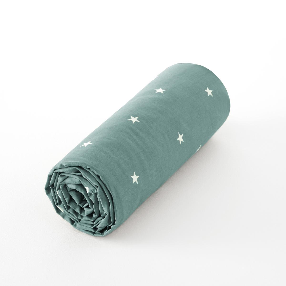 Простыня LaRedoute Натяжная из перкали из биохлопка Stella 90 x 190 см синий недорого