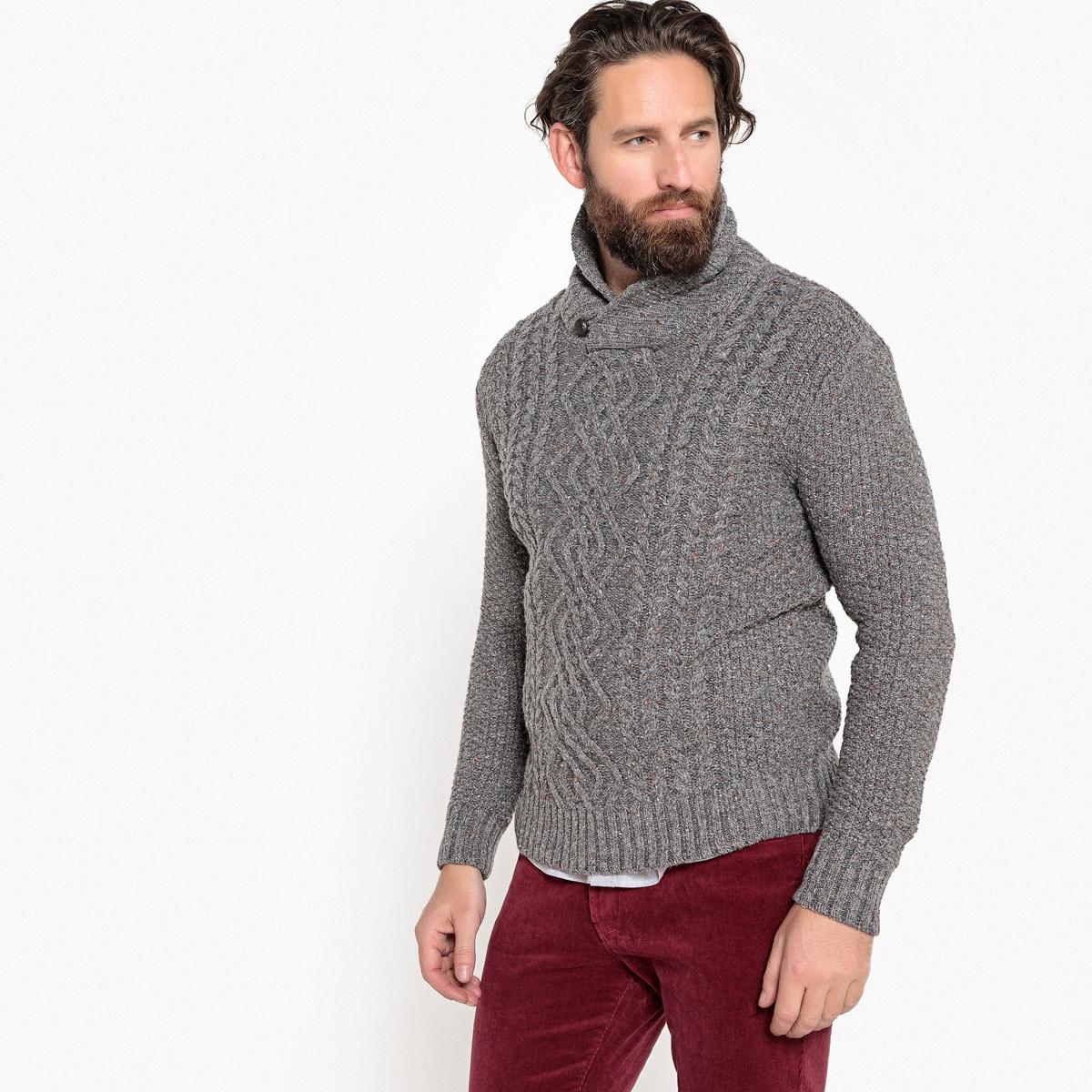 Пуловер с шалевым воротником из плотного трикотажа кардиган большого размера с шалевым воротником на пуговицах