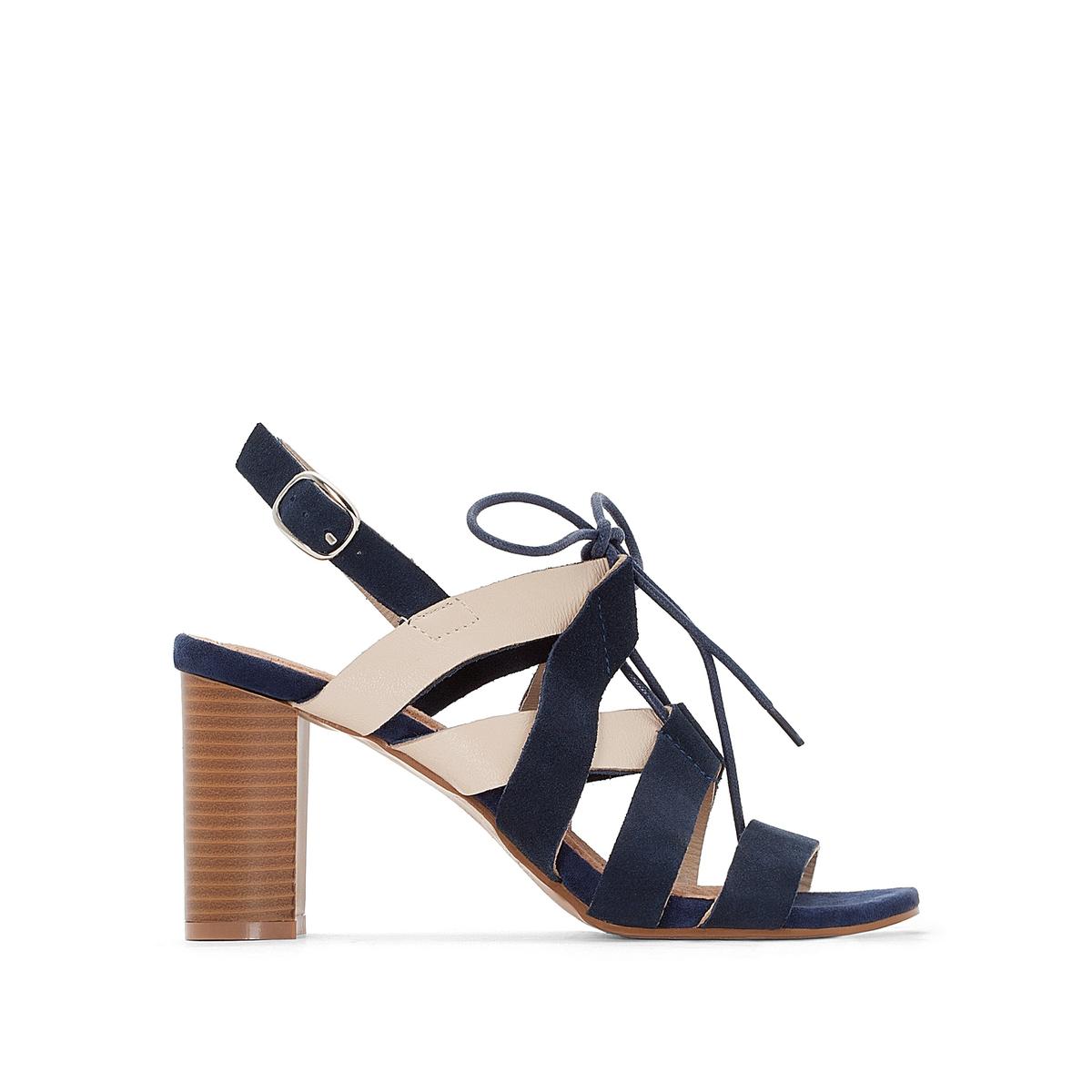 Босоножки кожаные двухцветные на высоком каблуке цены онлайн