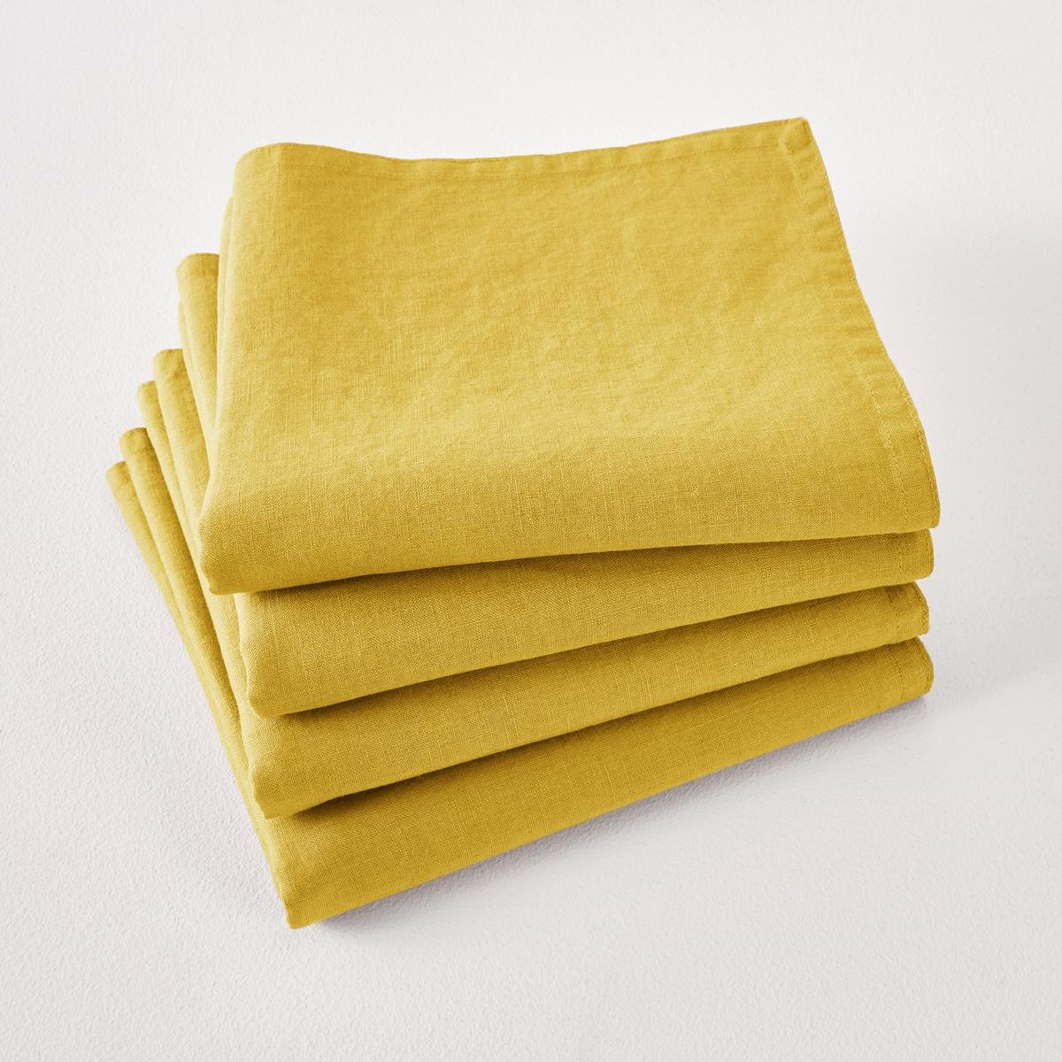 Комплект из салфеток Victorine La Redoute Из осветленного льна 45 x 45 см желтый комплект из салфеток из la redoute льна и хлопка border 45 x 45 см бежевый