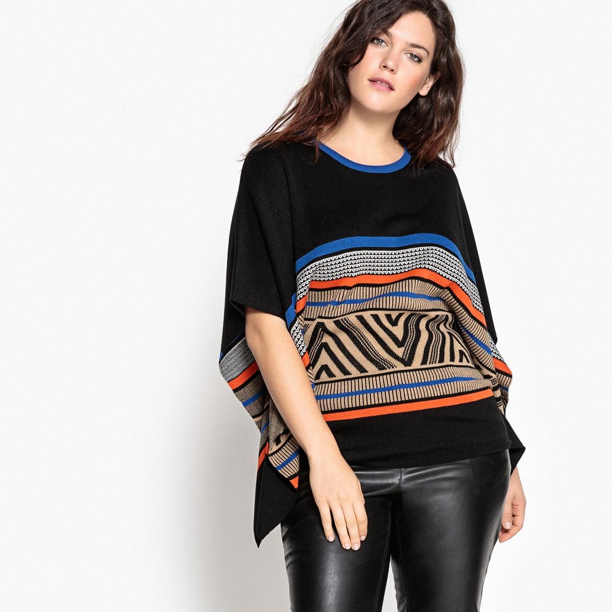 Пуловер-пончо с жаккардовым рисунком пуловер с жаккардовым рисунком manitou