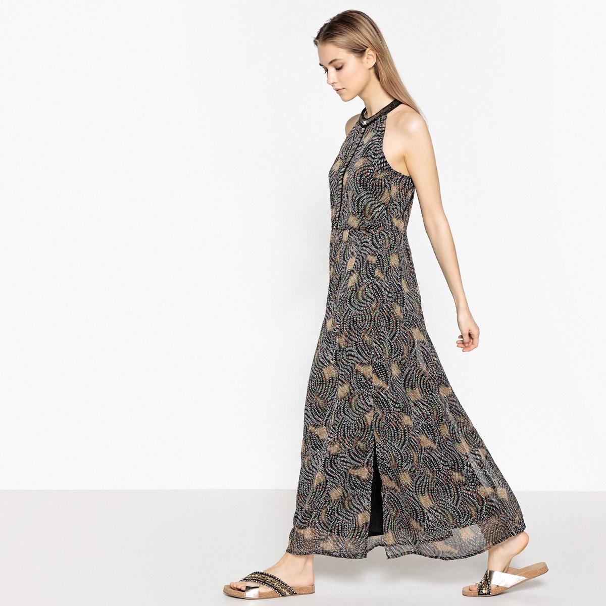 Платье длинное с принтом и вырезом с украшением