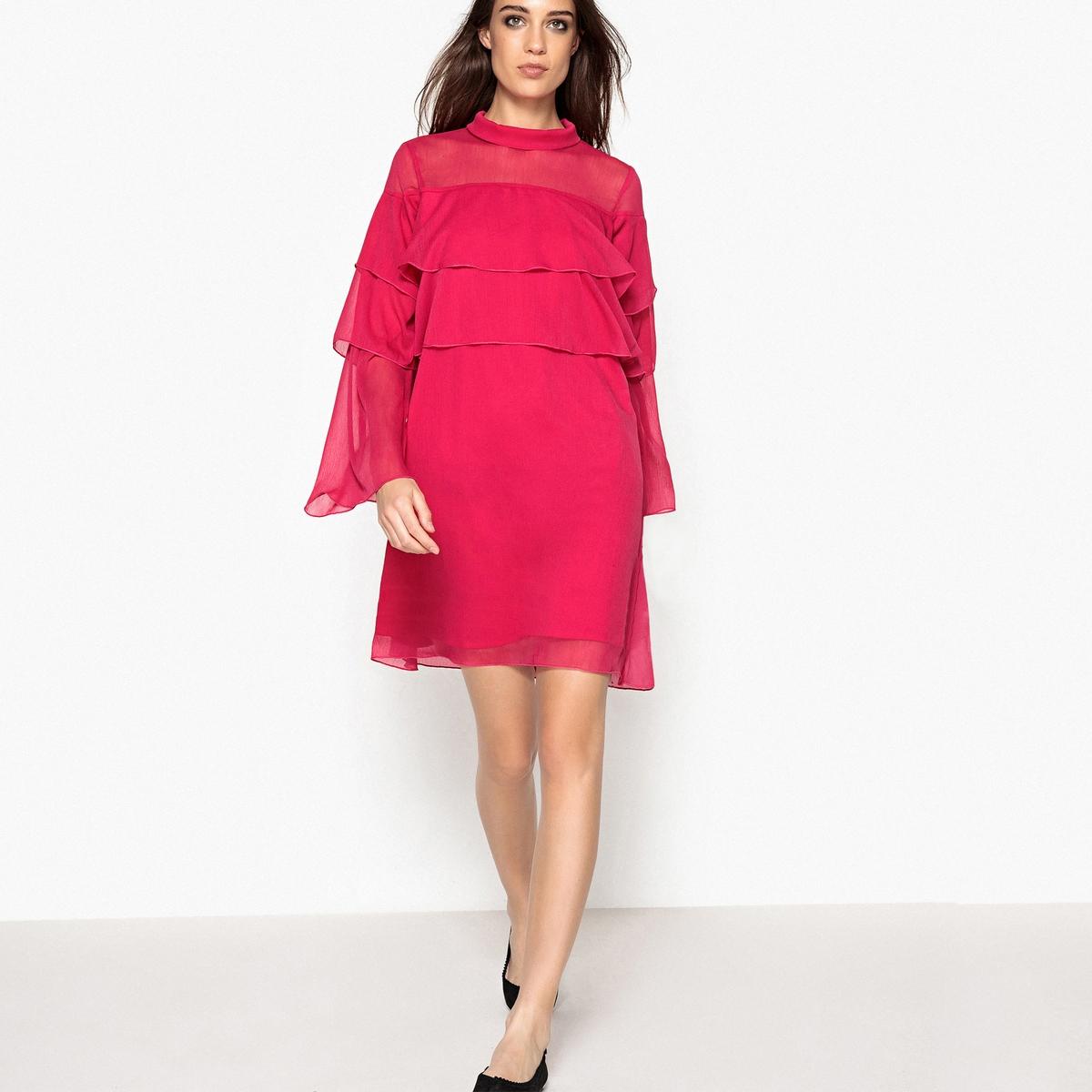 где купить Платье из вуали с воланом дешево
