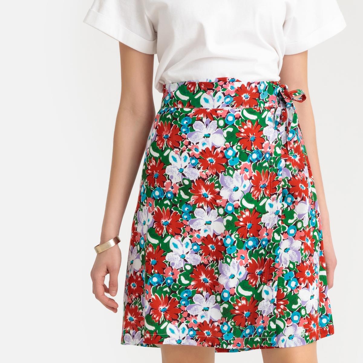 Юбка La Redoute Короткая расклешенная с запахом с цветочным рисунком S красный юбка la redoute короткая расклешенная с цветочным рисунком и оборками на поясе xs бежевый
