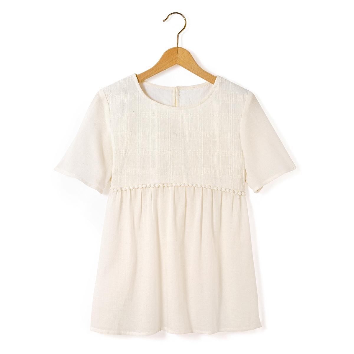 Блузка с короткими рукавами, с вышивкой, 10-16 лет
