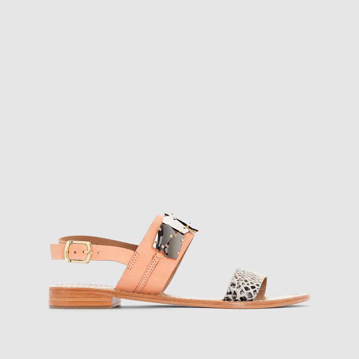 Сандалии ELIZABETH STUART HAVANEМягкая нежная кожа с модной выделкой под питона и ремешок с украшением порадуют наши ножки этим летом: ELIZABETH STUART не перестает нас удивлять и заботиться о наших ногах!<br><br>Цвет: розовый/под питона<br>Размер: 40